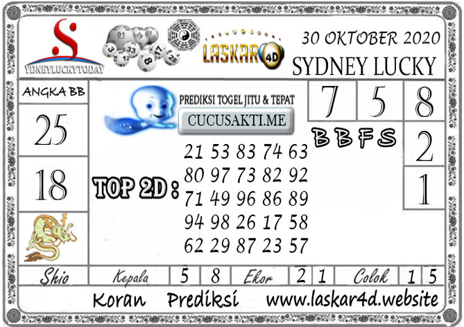 Prediksi Sydney Lucky Today LASKAR4D 30 OKTOBER 2020