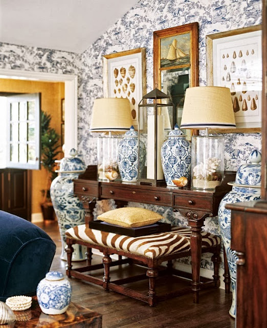 Living Room Decorating And Designs By Tina Barclay: The Glam Pad: 20 Blue And White Family/Living Rooms