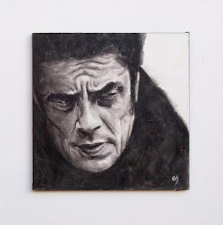 Acuarela sobre tabla. Benicio del Toro