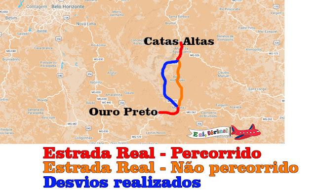 Mapa Estrada Real versus caminho que percorremos