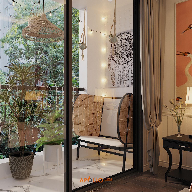 Thiết kế nội thất căn hộ 2PN (120m2) Royal City phong cách Đông Dương (Indochine)