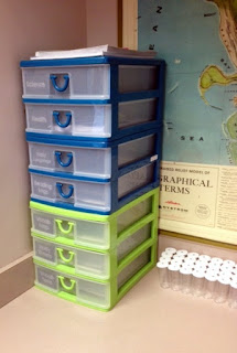 Plastic drawers can help teachers organize their copies!