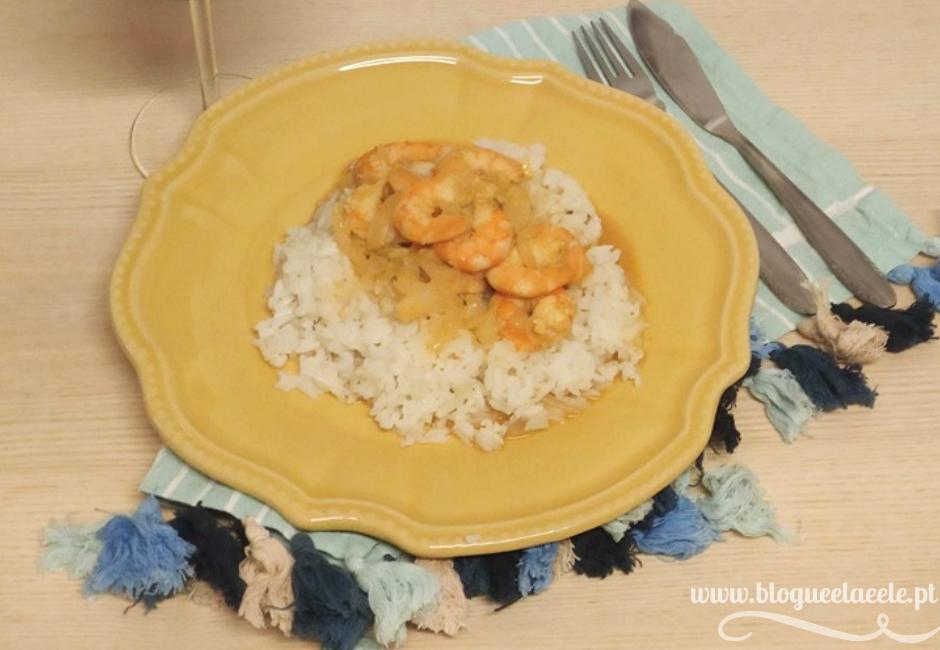 receita + caril de gambas com arroz branco + blogue português de casal + receita simples, prática e rápida + blogue ela e ele + ele e ela + pedro e telma