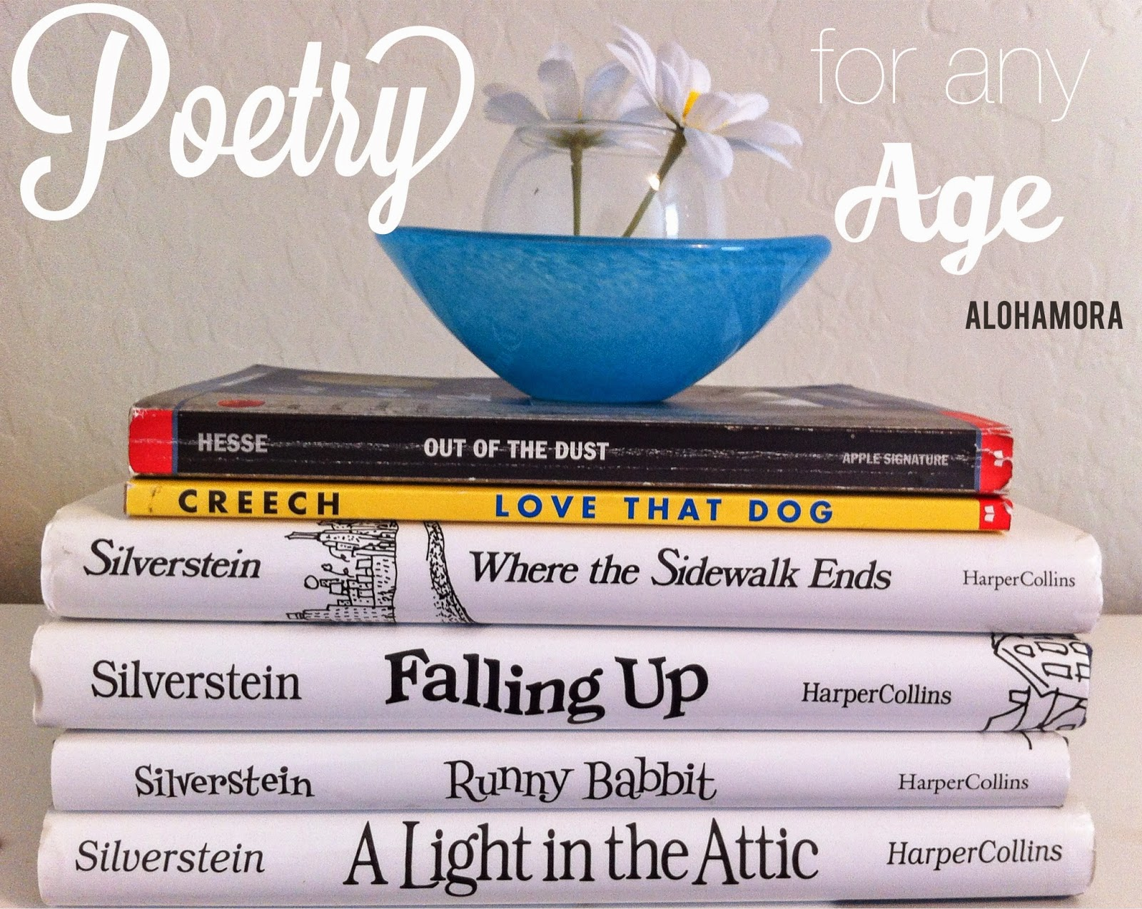 5 Great Poetry books no matter your age.  You'll be entertained, learn a lot, and be able to use them in lessons/presentations. Alohamora Open a Book  http://www.alohamoraopenabook.blogspot.com/