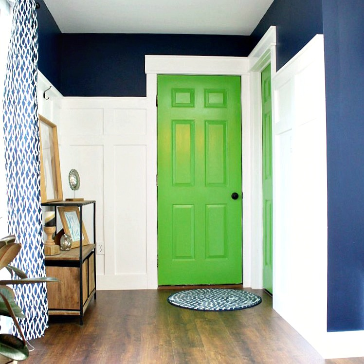 green painted interior door