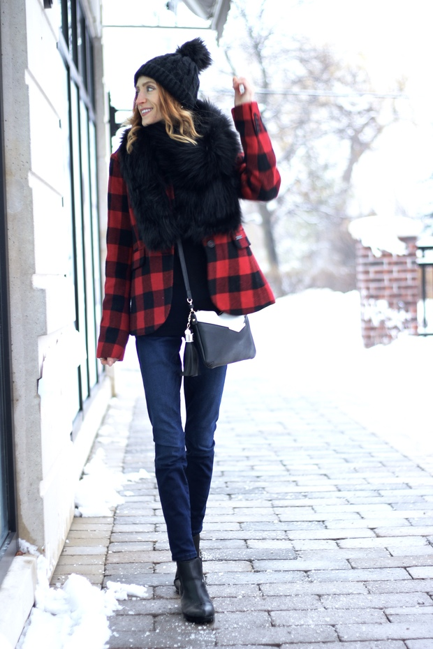 GUESS Shape Up denim, Faux fur black stole, Buffalo Check Blazer, Pom Hat, Cougar COPE booties, Festive Style