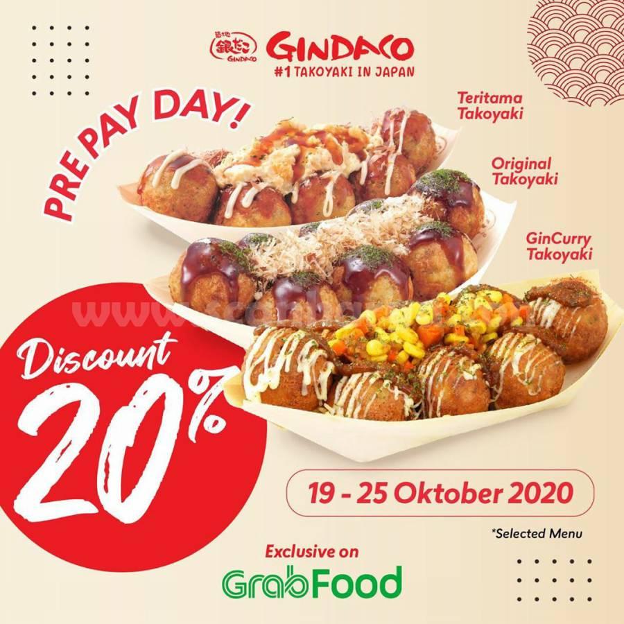 Promo GINDACO Pre PAY DAY Discount 20% khusus Pemesanan via Grabfood