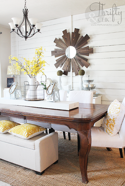 Farmhouse dining room decor and decorating ideas with DIY shiplap walls
