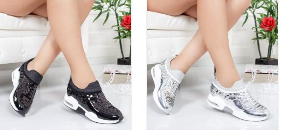 Adidasi femei argintii , negri moderni de calitate din piele eco lacuita