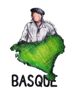 "Basque region, coloured in green; man wearing beret and work shirt; ""Basque"" in ALL CAPS below the image."