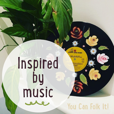 Canal Art Roses and Daisies painted on to a vintage vinyl record.