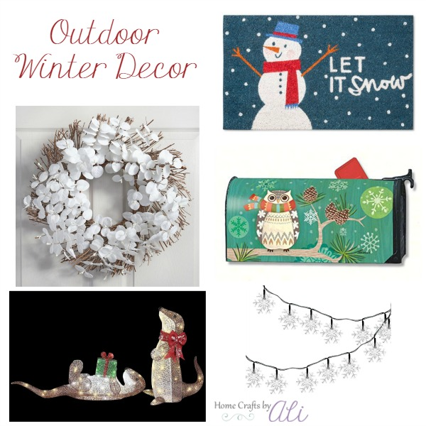 Outdoor winter decor wreath lights figures porch decorations