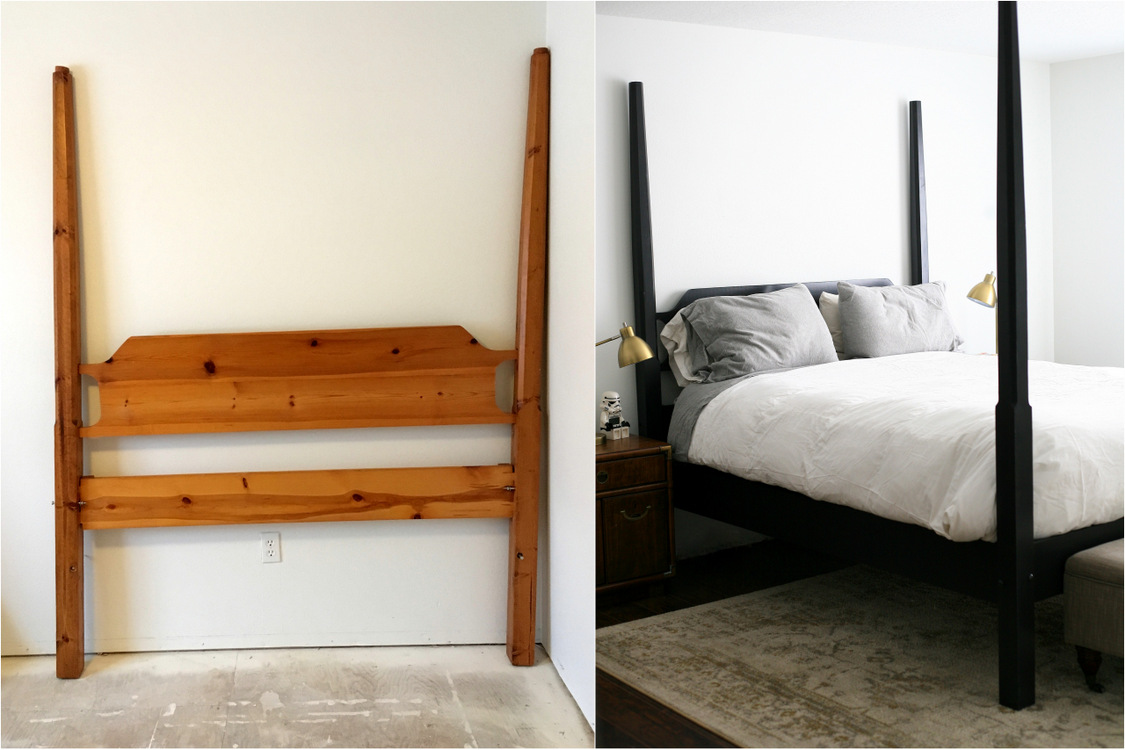Cool Painted Four Poster Bed Makeover Tutorial