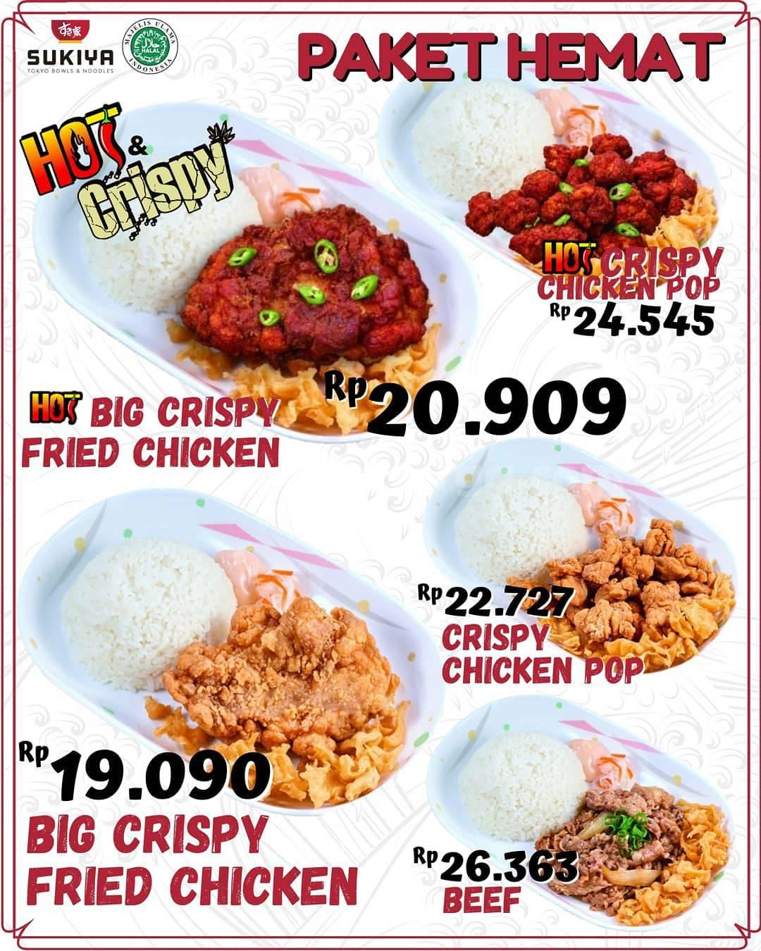 Promo SUKIYA Paket Hemat Hot & Crispy – Harga mulai dari Rp 19.090