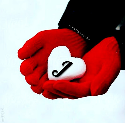 Snow heart Winter alphabet letters images for WhatsApp dp download