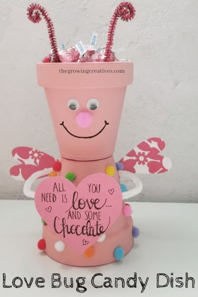 use your extra terra cotta planters for this cute homemade Valentine's Day gift
