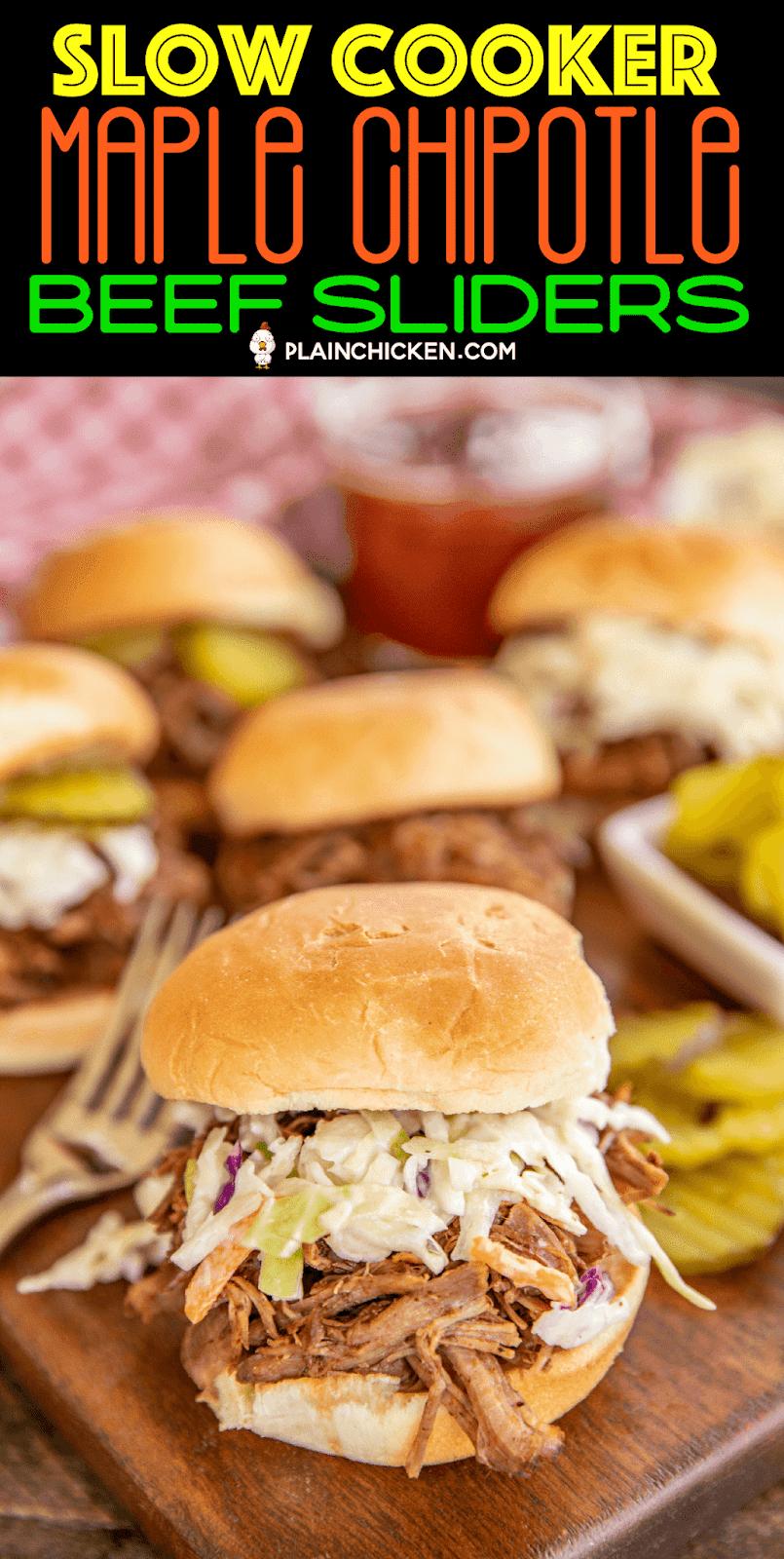 shredded pot roast beef sandwiches on serving board