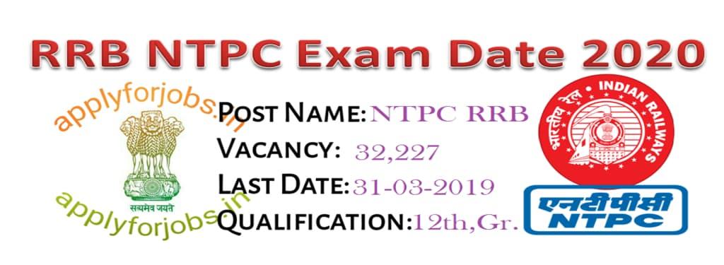 RRB NTPC Exam Date 2020 Released, applyforjobs.in