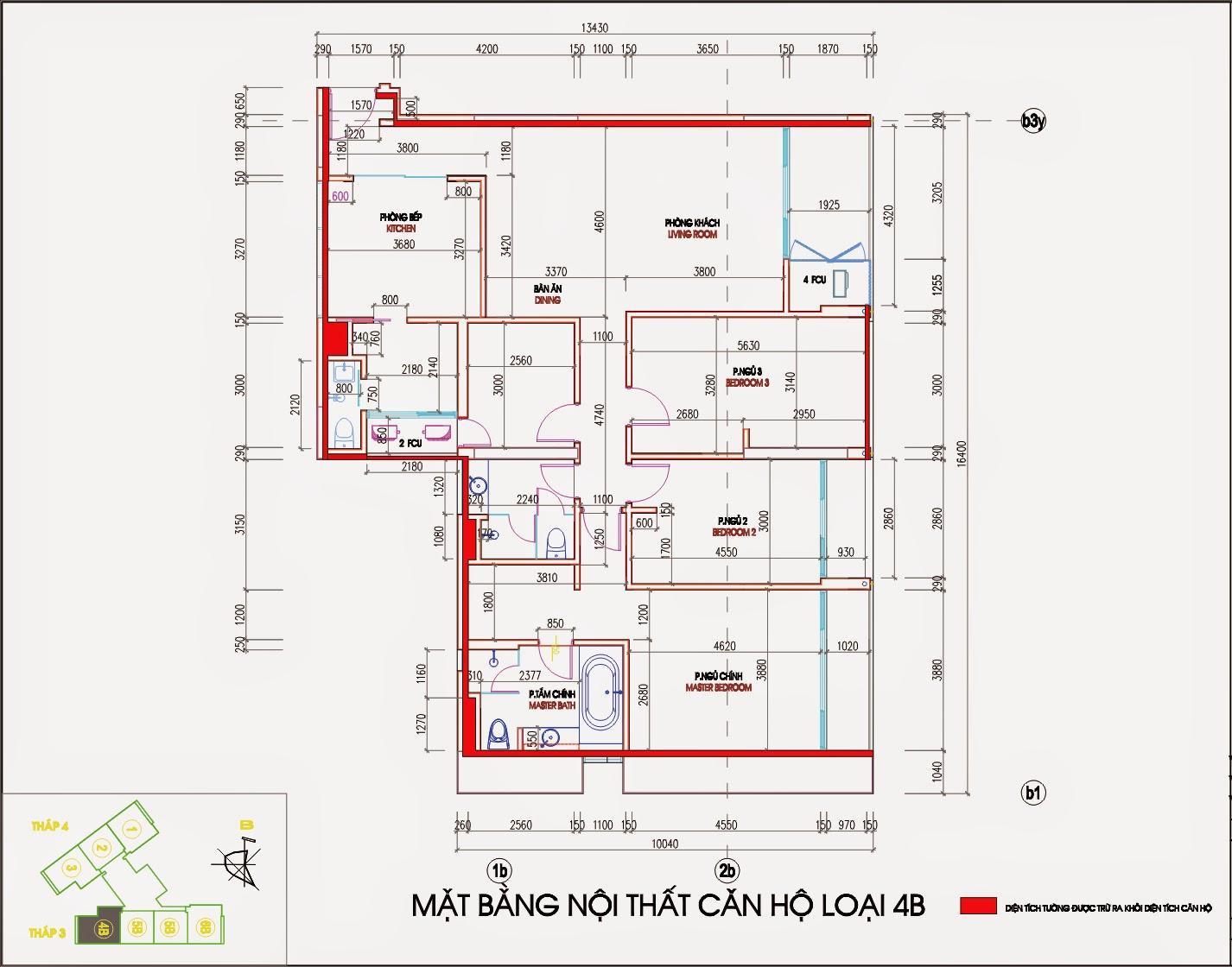 Bản vẽ thiết kế căn hộ CH4B - 181m2 Chung cư Dolphin Plaza