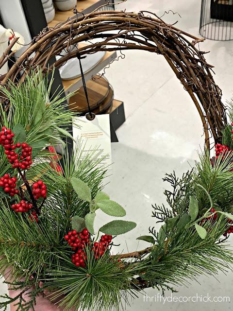 Magnolia grapevine Christmas wreath