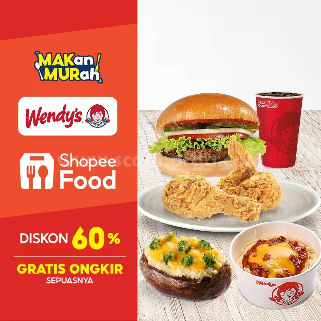 Promo Wendys Diskon 60% + Gratis Ongkir melalui ShopeeFood