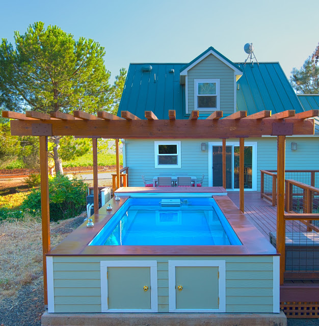 aboveground Original Endless Pool under a pergola in Chico, California