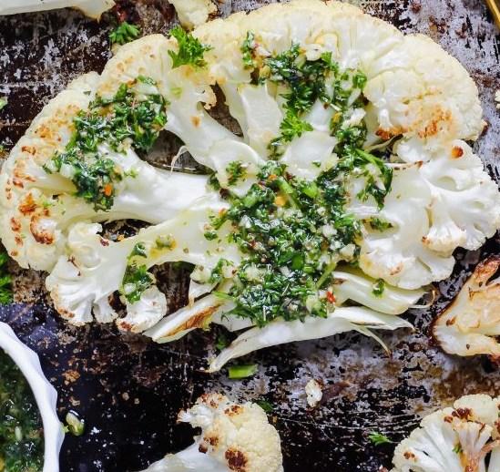 Roasted Cauliflower Steaks with Chimichurri Sauce #vegetarian #dinner