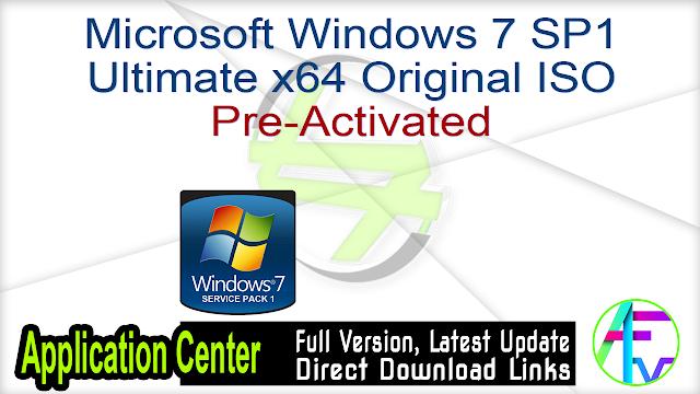 Microsoft Windows 7 SP1 Ultimate x64 original ISO Pre-Activated