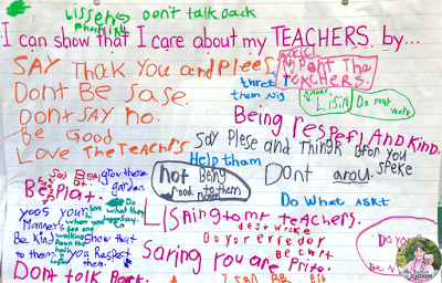 Anchor chart that shows student brainstorming about how they can show they care about their teachers.