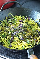 Turmeric Noodle Stir Fry with Brocollini, Celery and Radish Sprouts