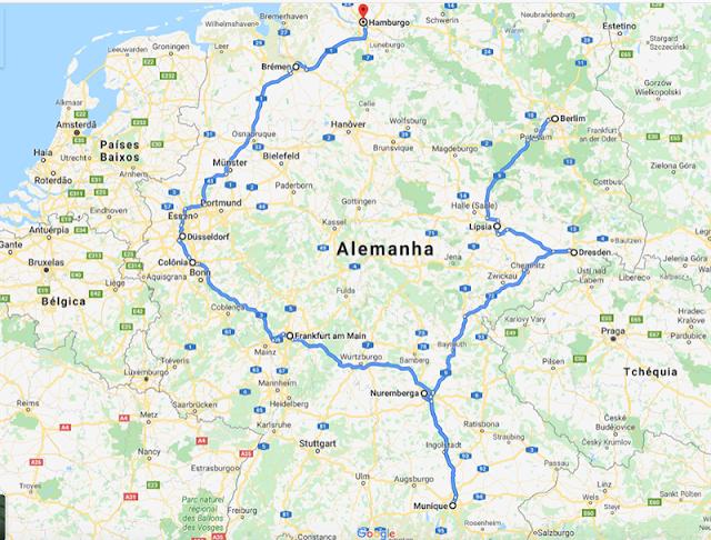 Mapa melhor roteiro para viajar de carro na Alemanha