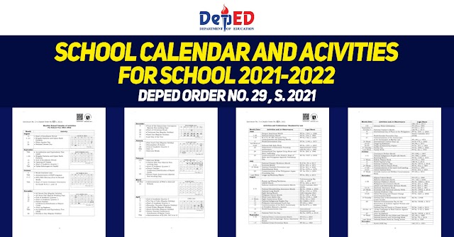 School Calendar and Activities for SY 2021-2022