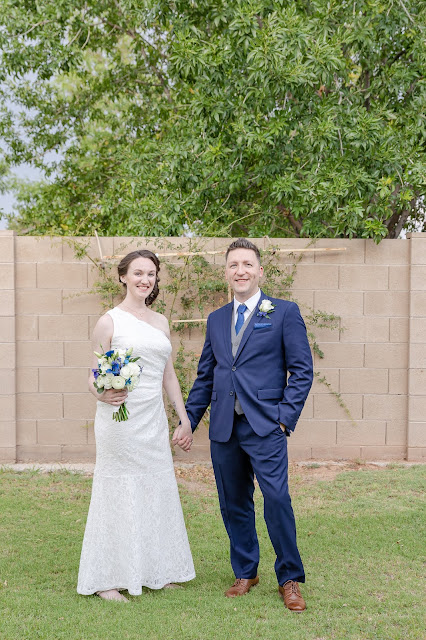 gilbert az backyard bride and groom photo at a wedding in july