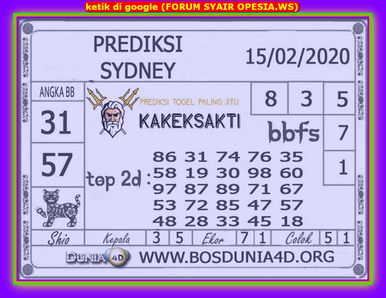 Kode syair Sydney Sabtu 15 Februari 2020 75