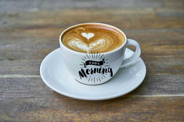 Beautiful good morning photo image with coffee
