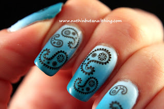 paisley water decals gradient nail art