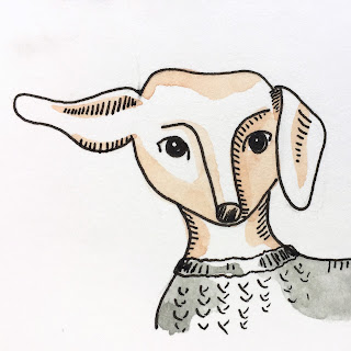 Dachshund illustration in ink pen with watercolor wash - by Amy Lamp
