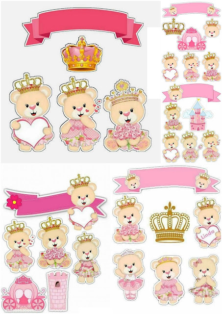 Teddy Bear Princess Free Printable Cake Toppers.