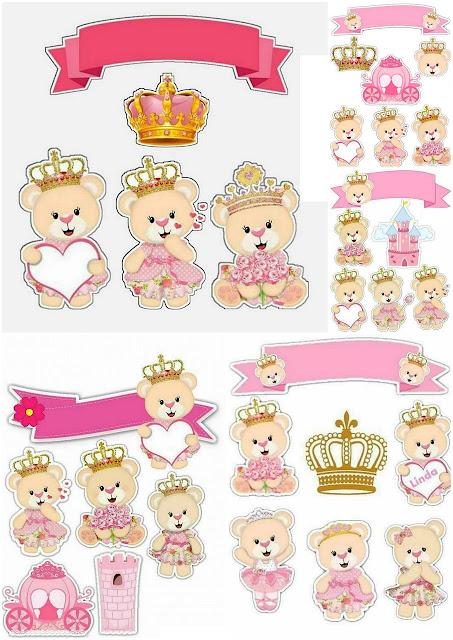 Osita Princesa: Toppers para Tartas, Tortas, Pasteles, Bizcochos o Cakes para Imprimir Gratis.