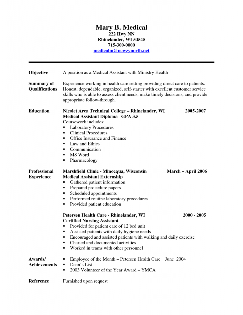 cna example resume resume for nursing assistant examples best – High School Diploma on Resume Examples
