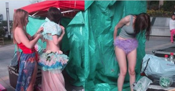 This Old Men Took Pictures of Foreign Models Changing Clothes in a Fashion Show in China, He was so Curious!