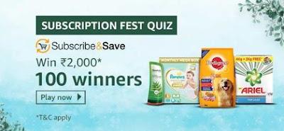 Amazon Subscription Fest Quiz