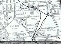 Map of area around the South Brisbane Cemetery and Boggo Road Gaol, 1916.