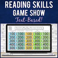 This fun, interactive Jeopardy Style PowerPoint Game Show will help your middle school students review FIVE reading skills: Central Idea, Idea Development, Point of View, Text Structure, and Interpreting Words and Phrases.  NO PREP and easy to use!