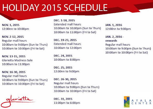 Glorietta - Makati City holiday schedule 2015