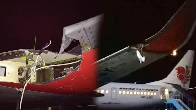 Video Pesawat Lion Air Tabrak Tiang di Bandara Fatmawati Bengkulu, Sayap Kiri Rusak Parah
