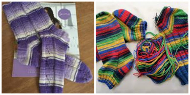 A collage photo showing three pairs of socks.  On the left is a pair knitted in purple Hidden Gem yarn using the Winwick Mum Hidden Gem pattern, and on the right are two pairs knitted in the red, blue, green, yellow, navy striped Brightside.  One is a plain pair and the other is knitted in the Winwick Mum Seascape pattern