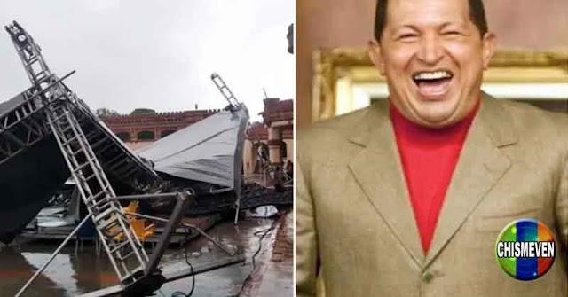 Se desplomó la tarima que usarían para celebrarle el cumpleaños al mortadelo Chavez
