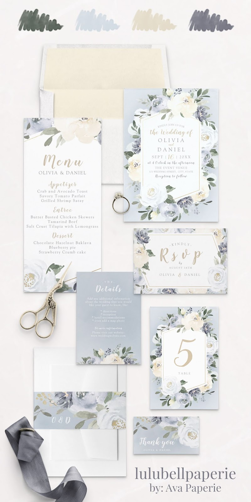 Dusty Blue Yellow and Green Botanical Floral Wedding Invitation Suite - Invites, Menus, RSVP Cards, Details Card, Table Numbers, Belly Band Wraps, and Thank You Cards