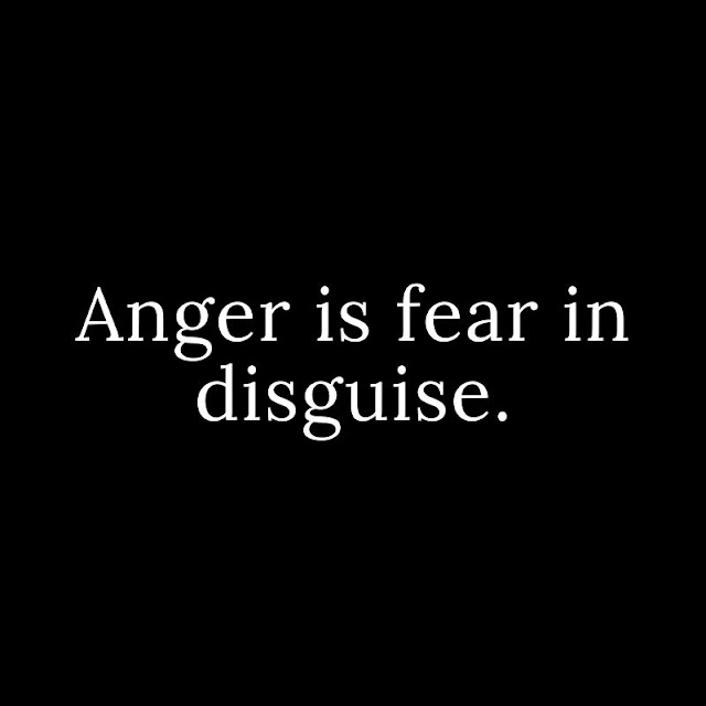 Anger is fear in disguise.